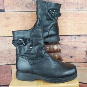 Men's leather winter boots side zip size 8